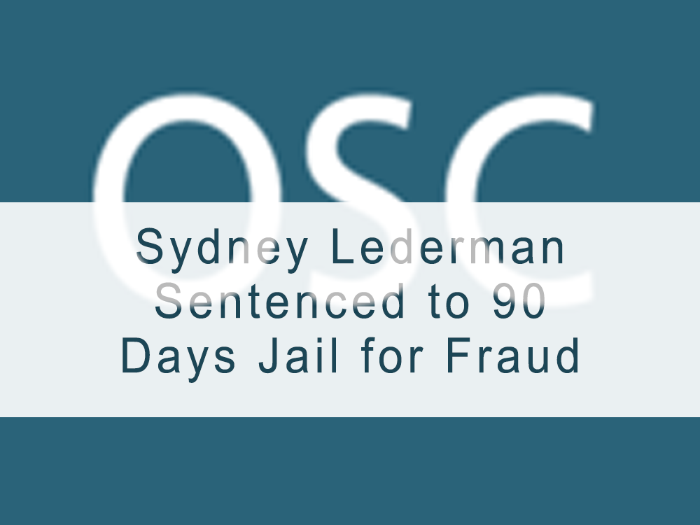 Sydney Lederman Sentenced to 90 Days Jail for Fraud