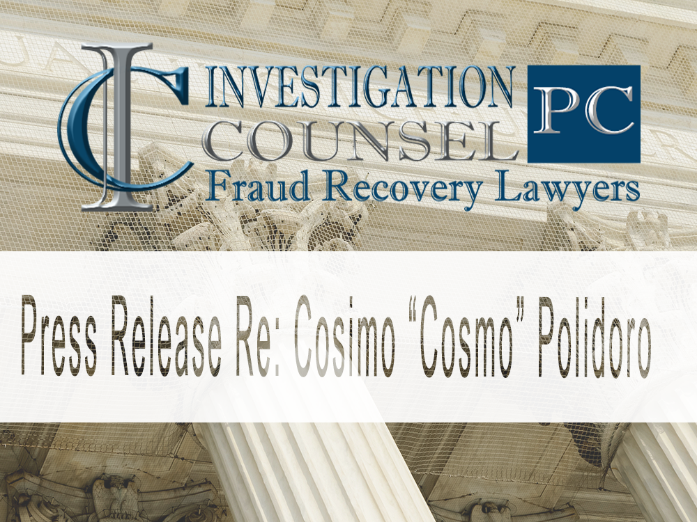 "Press Release Re:  Cosimo ""Cosmo"" Polidoro"