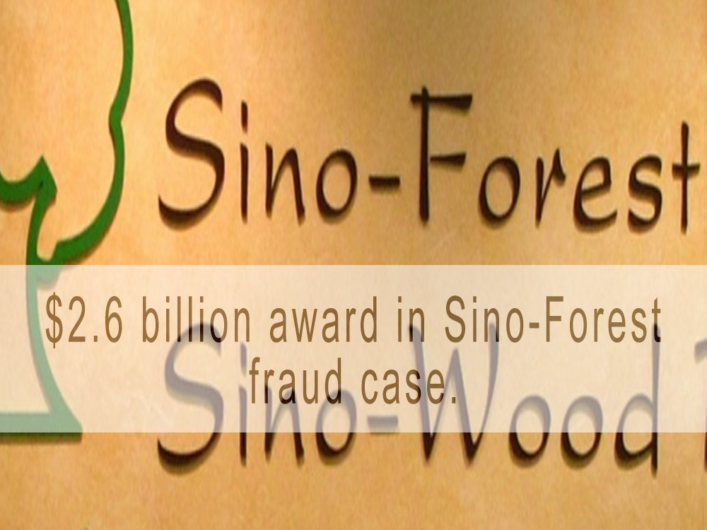 $2.6 billion award in Sino-Forest fraud case